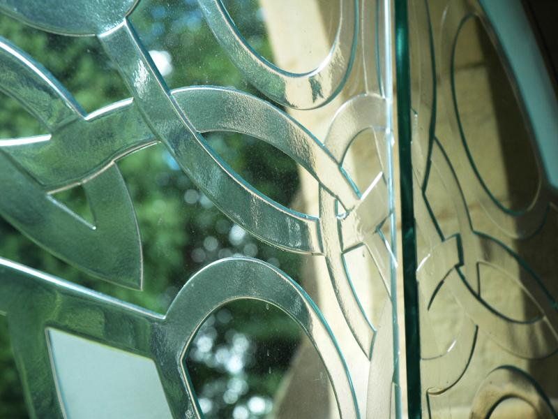 Hand Carved Glass Doors